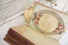 Vintage, Shabby Chic, Sage, Blush and Gold, Guest Book or Wedding album.   My…