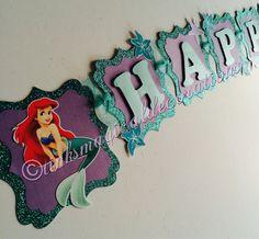 Banner de cumpleaños de pequeña sirena por TinksMagicalDeco en Etsy