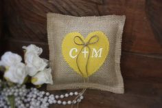 Personalized ring bearer pillow as seen in by victorianstation, $29.00