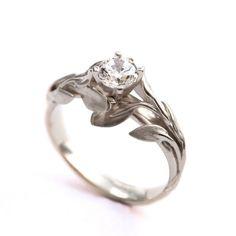 Leaves Engagement Ring No.4 18K White Gold by DoronMeravWeddings