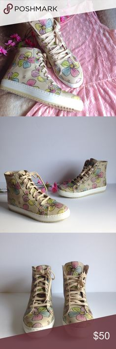 Goby Vegan Hi-Top Floral Sneakers Adorable hi-top sneakers by European brand Goby. Features 100% vegan materials, super cute multicolor floral pattern and shark teeth style soles. Excellent condition, barely worn, only flaw is a small nick on the left shoe's tongue (won't show when wearing). Size EU 40 | US 9 as per brand's online size chart. I happily entertain reasonable offers  Goby Shoes Sneakers