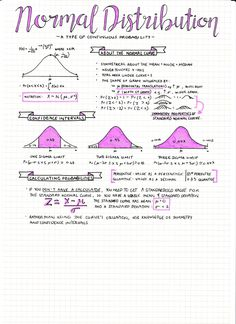 【day 34 of exam smackdown】 ft. part 5 of my probability and stats notes! man i just love colouring in these normal dist. graphs with frixion markers hahah (part 1 // 2 // 3 // 4 ) three days till my first written exam which is english (get the pain. Revision Notes, Math Notes, Study Notes, Revision Timetable, Revision Tips, Gcse Revision, School Organization Notes, School Notes, Medicine Organization