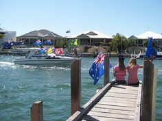 Celebrate Australia Day in Mandurah and be proud to be an Australian - Family event on Mandurah's Foreshore and canals, seen here from our jetty at Port Sails Canal Villa