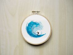 Watercolour Surfer on Ocean Wave Modern by RhiannonsCrossStitch