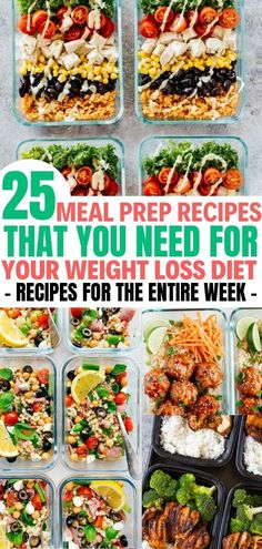 25 Easy Meal Prep Recipes for the Entire Week &; Balancing Bucks mealprepplans Delicious meal prep r&; 25 Easy Meal Prep Recipes for the Entire Week &; Balancing Bucks mealprepplans Delicious meal prep r&; Diet Food To Lose Weight, Healthy Recipes For Weight Loss, Weight Loss Meal Plan, Diet Recipes, Delicious Recipes, Losing Weight, Diet Tips, Smoothie Recipes, Health Recipes