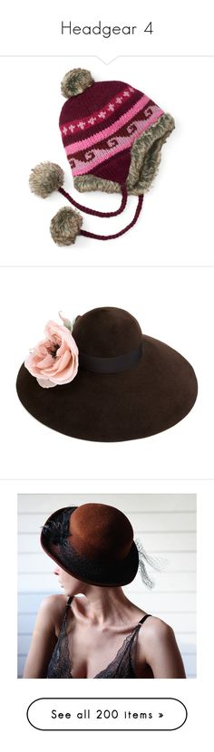"""""""Headgear 4"""" by faeryrain ❤ liked on Polyvore featuring accessories, hats, multicolor, cable knit pom pom hat, faux fur pom pom hats, ear flap hats, colorful hats, fake fur hats, brown and floral corsage"""