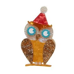 Erstwilder Owl, having a Hoot brooch. Hoo Hoo Hoo is coming to the big birthday bash? Party all night sleep all day. That's the owl way. Birthday Pins, Birthday Bash, Birthday Celebration, I Party, Party Hats, Sleeping All Day, Red Panda, Animal Party, Bird Art