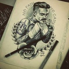 Neotraditional sketch by Roza. For more go to saketattoo.com. #tattooinspiration #neotraditional #traditionaltattoo #tattoo #guytattoos #boxertattoo #nopainnogain #tattooidea