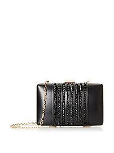 La Regale Women's Faux Leather with Beads Minaudiere, Black