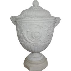 Relief Carved Grand Tour Marble Neoclassical Piranesi Urn after the Antique with Satyr Mask Handles @rubylanecom #VintageGarden #rubylane