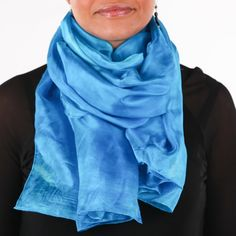 Fabulous turquoise silk scarf /  magnificent light blue shawl   /  large sky blue silk veil / Hand dyed / 100% habotai silk