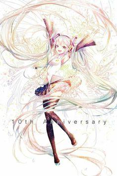 Hatsune Miku~ by Hiyasemi Enos Vocaloid, Loli Kawaii, Kawaii Anime, Anime Art Girl, Manga Girl, Anime Girls, Desu Desu, Anime Chibi, Anime Style