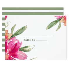 Romantic Watercolor Flower Painting   Striper Pattern Background Design Wedding Table Place Cards. Matching Wedding Invitations, Bridal Shower Invitations, Save the Date Cards, Wedding Postage Stamps, Bridesmaid To Be Request Cards, Thank You Cards and other Wedding Stationery and Wedding Gift Products available in the Floral Design Category of the Best Day Ever store at zazzle.com