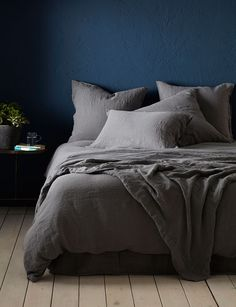 Charcoal Grey 100 Linen Bedding Secret Linen Store Charcoal Grey 100 Linen Bedding Secret Linen Store Anisa archanisa Shpia tirane Amazing moody and dark bedroom interiors With nbsp hellip bedding linen Grey Bedding, Linen Bedding, Luxury Bedding, Bedding Sets, Bed Linens, Modern Bedding, Comforter, Camo Bedding, Bedding Decor