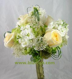 Wedding bouquets; Pittsburgh Weddings; Wedding Flowers; Blumengarten.  roses, stock, hydrangea, Queen Anne's lace bear grass (90$)