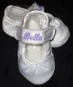 Clearance monogrammed baby girl shoes in white by childrenscottage baby girls monogrammed personalized shoes crib shoes christening baptism fabric shoes with optional extra monogrammed straps negle Image collections