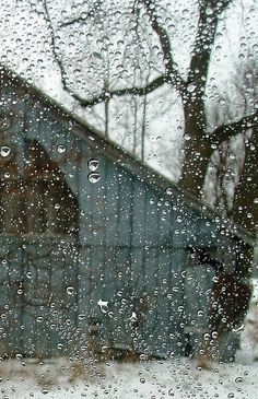Ain't nothin' quite like a little rain on the barn out the window...  www.Skymosity.com