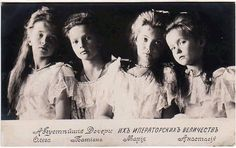 Imperial Russia, the Romanov sisters... Olga, Tatiana, Maria, and Anastasia. B e a u t i f u l . . .Love this picture.