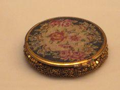 donald j pliner sunglasses us22  Vintage Tapestry Chatelaine Mesh Powder Compact