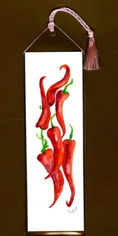 Hot chili peppers, perfect bookmark for your foodie friends. https://www.etsy.com/listing/261184162/original-watercolor-bookmark-not-a-print