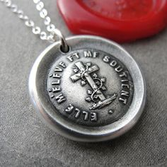 Wax Seal Necklace Faith Cross  antique wax seal charm jewelry