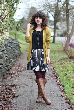 chartreuse cardigan and eggplant tights