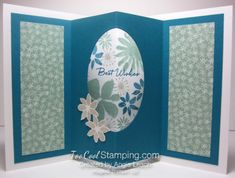 Blooms wishes tunnel card - indigo version.  Click the photo to see the other version and the card fronts.  www.toocoolstamping.com