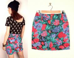 90s floral denim skirt // high waisted by BexVintage on Etsy, $24.00