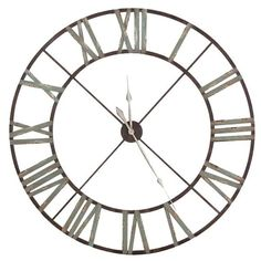 Amazing Huge Large Roman Numeral Iron Clock. Super big distressed iron clock with roman numerals. A statement piece at 48 inches in diameter.