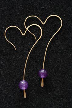 Amethyst Big Heart Earrings. $12.00, via Etsy.