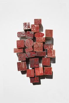 Otto Künzli, Shanzaï, 2012  Seal rings, steatite (soapstone). Inscription: Fake  Variable dimensions | Image © Otto Künzli, Munich | #jewellery #mudac #kunzli