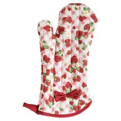 Serve up a pie or a plate of cookies with this strawberry themed oven mitt