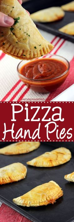These Pizza Hand Pies are the perfect portable lunch or snack. They are quick and easy to make, and completely customizable. | EverydayMadeFresh.com http://www.everydaymadefresh.com/pizza-hand-pies/