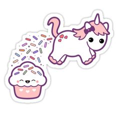 Super cute pink baby unicorn pooping rainbow sprinkles on happy cupcake friend who appears to enjoy it quite a bit.