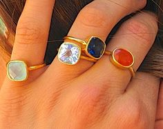 Oval Gemstone Ring  Gold Ring  Stackable Ring  by EllaTaylorDesign