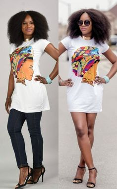 SALE Queen Neria headwrap T-Shirt dress. African Queen headwrap T-shirt/ dress. This statement T-shirt dress is a must have. It can be worn either with pants or as a dress. Ankara | Dutch wax | Kente | Kitenge | Dashiki | African print bomber jacket | African fashion | Ankara bomber jacket | African prints | Nigerian style | Ghanaian fashion | Senegal fashion | Kenya fashion | Nigerian fashion | Ankara crop top (affiliate)