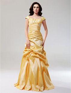 A-line Off-the-shoulder Floor-length Taffeta Evening/Prom Dress