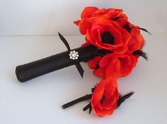 Anemone+and+Feather++Bouquet+and+Matching+by+ynasbridal+on+Etsy,+$50.00