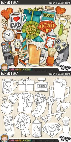 Father's Day clip art for teachers! Contains coloured clipart and black and white outlines at 300 dpi for highest quality printing for your resources and projects! | Hand-drawn clip art by Kate Hadfield Designs at Teachers Pay Teachers