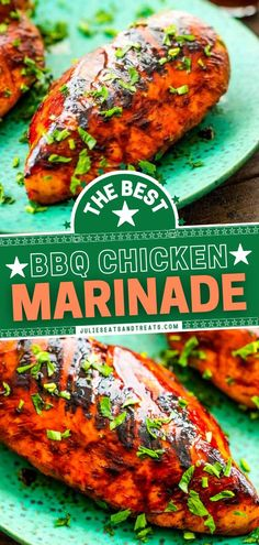 The perfect main dish for Father's Day dinner! Sweet and slightly tangy, this quick and easy BBQ marinade is the BEST, keeping your chicken tender, juicy, and packed with so much flavor. Once you try… Easy Main Dish Recipes, Fun Easy Recipes, Healthy Dinner Recipes, Easy Meals, Yummy Recipes, Best Bbq Chicken Marinade, Bbq Marinade, Chicken Marinades, Grilled Steak Recipes