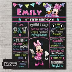 Minnie Mouse Birthday Sign,Minnie Mouse Chalkboard Sign,Any Size,Personalized birthday sign,Any Age,Birthday party sign,DPP216