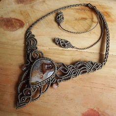 Macrame Necklace Pendant Druzy Agate Stone Quartz Waxed Cord Handmade Cabochon