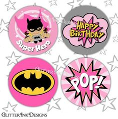 Flying Super Hero party PINK BATGIRL pdf by GlitterInkDesigns