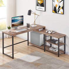 L Shaped Corner Computer Desk Rustic Wood and Metal Office | Etsy Rustic Office Desk, Office Table, Home Office Desks, Office Decor, Industrial Office Desk, Office Gifts, Office With Two Desks, Gaming Desk, Corner Computer Desks