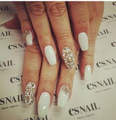 White and bling nails