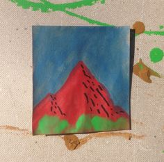 Mini painting of a mountain.
