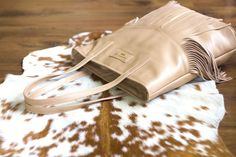 Capuccino leather tote bag by Annamaria Pap