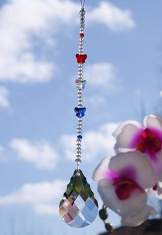 Excited to share this item from my shop: Butterfly Crystal Suncatcher Prism, Window Rainbow Gift Decoration Blue, White and Red Guardian Angel Gifts, Feng Shui Energy, France Colors, Butterfly Gifts, Faux Stained Glass, Crystal Gifts, Crystals And Gemstones, Suncatchers, Netherlands