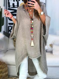 Women Boho Causal Tops V Neck Soild Half Sleeve Blouses - Trendy Outfits Mode Abaya, Mode Hijab, Mode Outfits, Fashion Outfits, Womens Fashion, Fashion Styles, Casual Outfits, Dress Casual, Ladies Fashion