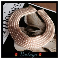 "VintageFaux Pearl collar necklace Vintage beaded/pearl dress collar "" Top Hit"" Fashion. Handmade Baar Beards, Inc. Japan. 15"" inside dimension x 1 1/8"" wide. Nothing missing. Clasp intact. Good condition. Does show a bit of its age/inner lining. Picture 3 shows where it needs some fabric glue/ or if you prefer a stitch or two.:) I know/have the history of the makers/designers etc. I don't have enough characters/space to type in description area. I can write in comments if you would like/have…"